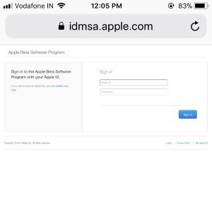 1 Login apple ID profile for Public iOS 11 Beta Download on iPhone
