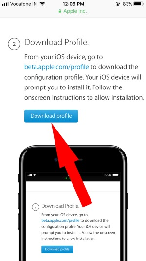 3 Download iOS 11 beta Profile
