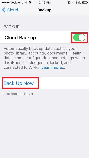 4 Start iCloud backup on iPhone
