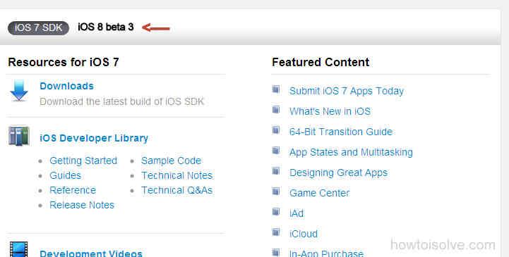 Download .zip file iOS 8 beta 3 for verify developer