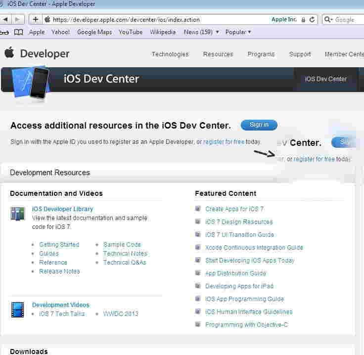 Register in iOS dev center as a iOS developer in free