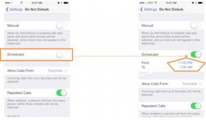 Screen 3- Set Schedualed for Do not Disturb in iPhone, iPad