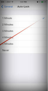 Select time to auto lock in iPhone and iPad