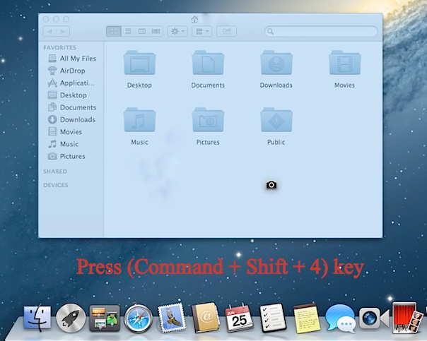 For Specific area of Screen, screenshot in Mac OS X (Yosemite)