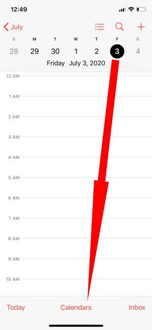Tap Calendar Option