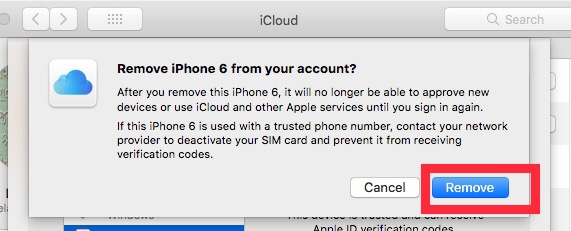 click on remove device from iCloud account