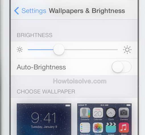 off auto brightness in iOs