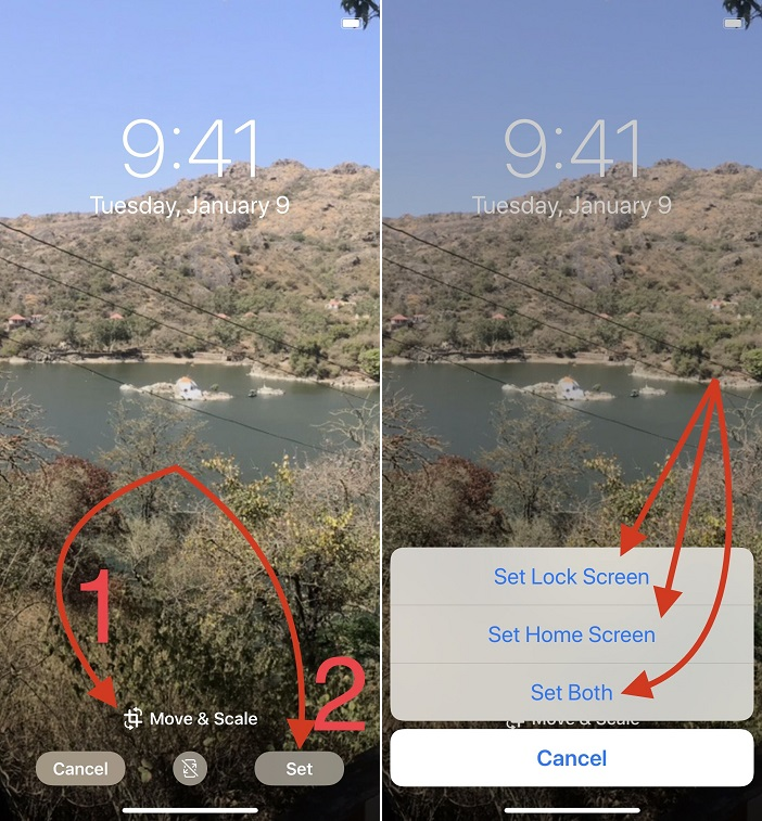 you can pinch-zoom or pinch-zoom off as well as move the full panoramic pic to choose right the portion of the 360-degree wallpaper