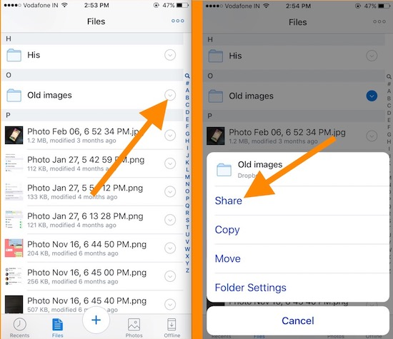 2 Share Dropbox file from iPhone app using link
