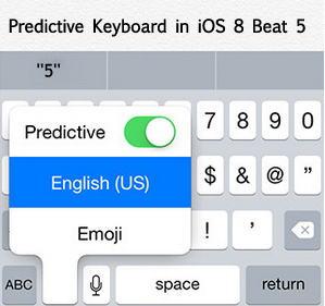 Predictive keyboard in iOS 8 Beta 5 for iPhone
