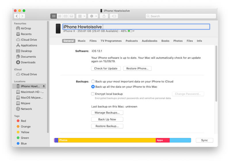 Change iPhone name on Mac Finder No iTunes