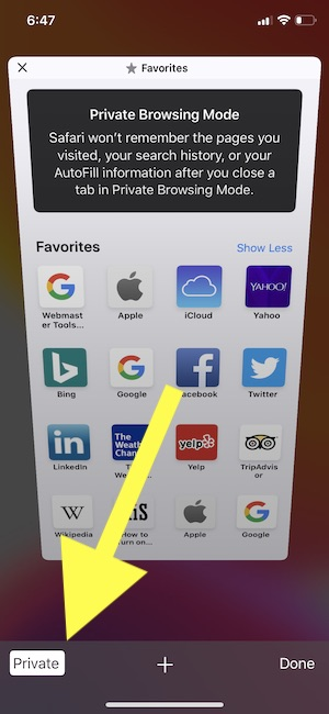 Exit Safari Private Browsing mode on iPhone