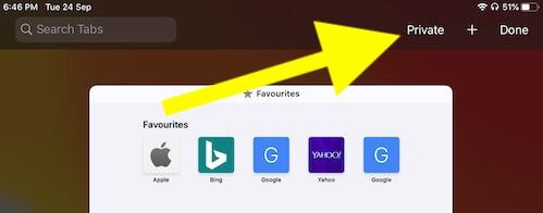 Safari Private Browsing on iPhone