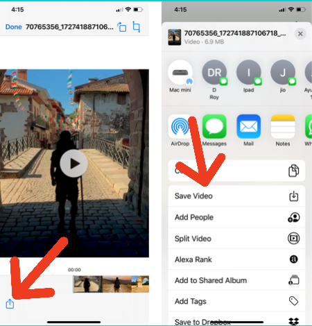 Save Instagram Video to Files app on iPhone/iPad