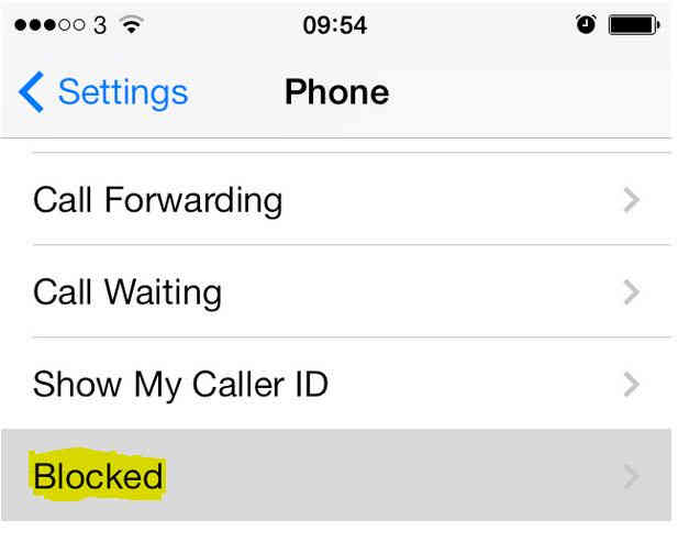 Select Blocked option to add new contact in list on iOS 7 or iOS 8