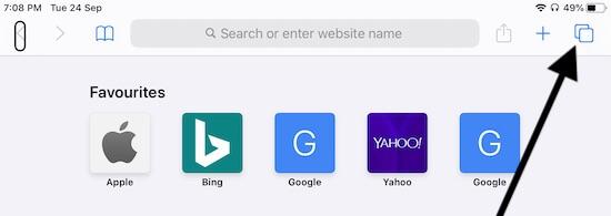 Tab button in Safari to Open Private Browsing