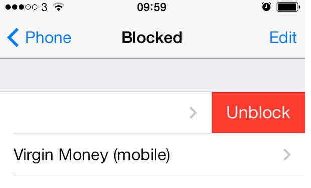 Top on unblock to remove added contact in blocked list