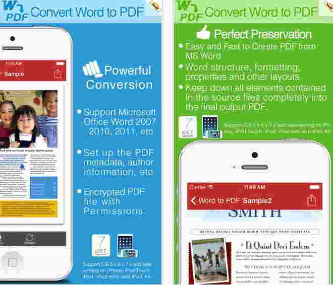 Convert word to PDF file in iPhone - For iPhone and iPad