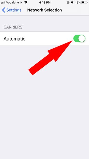 3 Automatic Selection Network Settings on iPhone