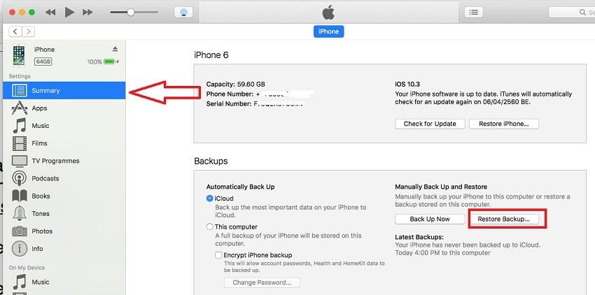 3 restore iphone using itunes