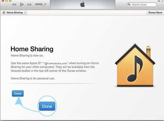 Home sharing enable by pressing done button