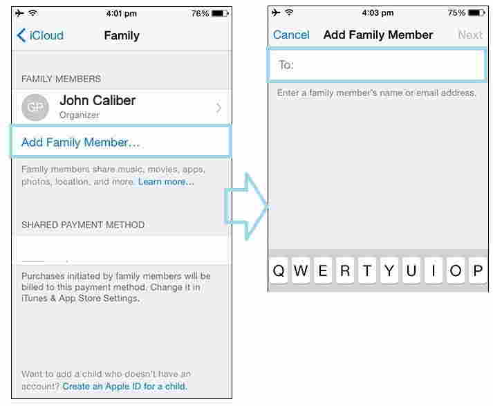 invite members in family sharing from iPhone and iPad