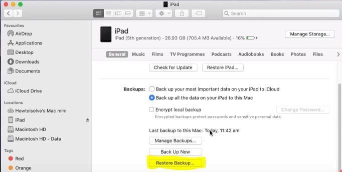 Restore iPhone-iPad Backup on Finder Mac