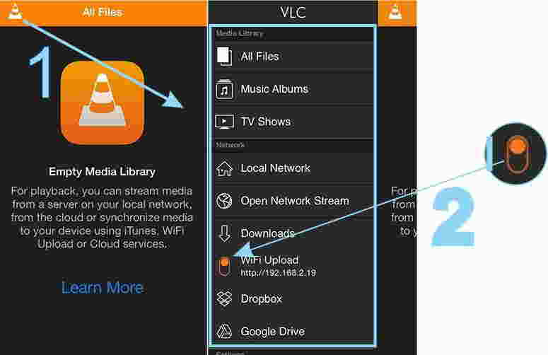 Turn on and syncronize wi-fi from VLC app settings