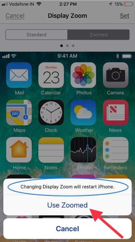 tap on Use Zoomed to apply Display Zoom on iPhone