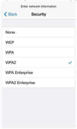 add Hidden Wi-Fi network's security level manually