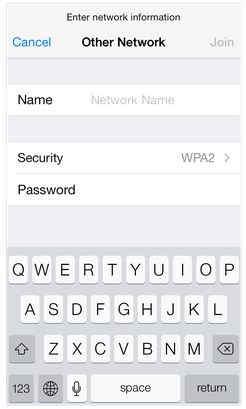 enter hidden Wi-Fi password here