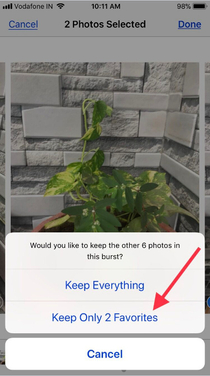 Keep everything and keep only numbers of Favorites from burst pictures on iPhone x iPhone 8 Plus iPhone 7 Plus