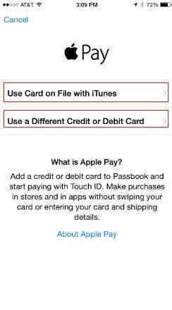 you can choose iTunes account also