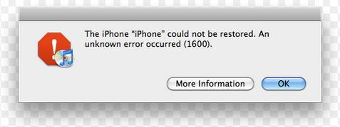 fix iTunes error at restore time