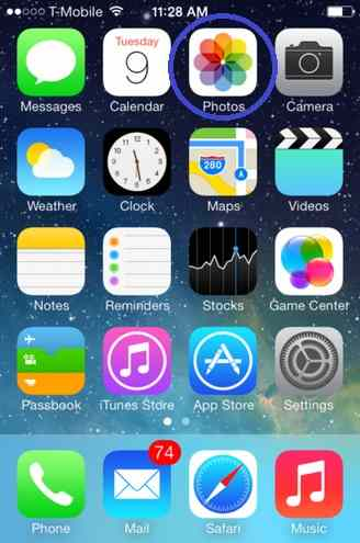 Open Photo app from home screen - share iCloud photo stream in iOS 8 and iOS 7