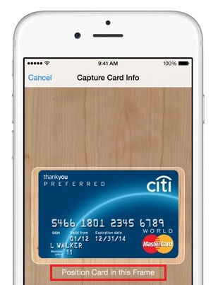 Tap on camera icon and Take photo of your card - Add Credit or Debit card details in iPhone 6