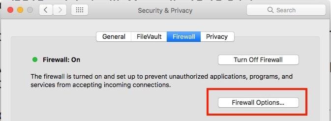 2 Change Mac OS Firewall settings