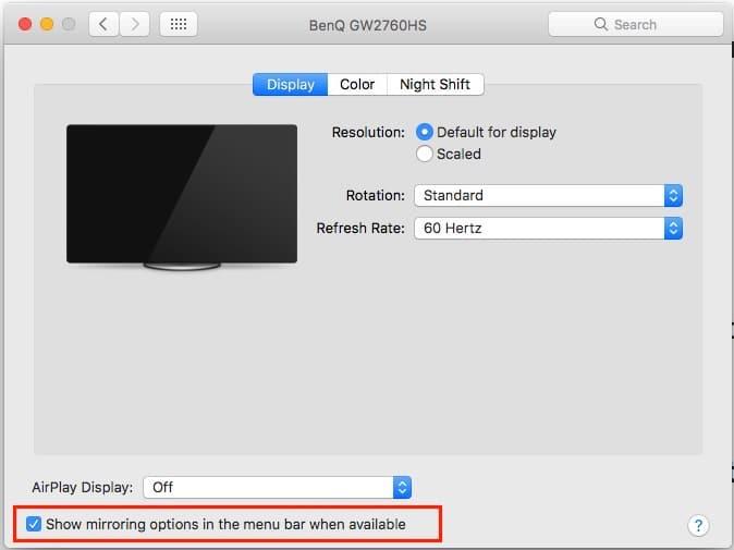 4 Show mirroring option on Mac Settings