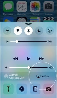 Activate AirPlay from iPhone control center