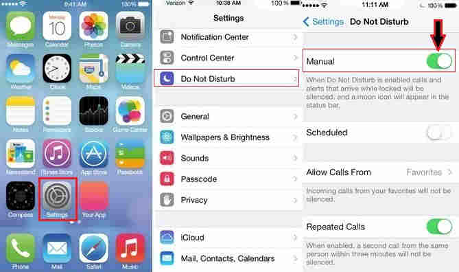 use this manual way for Enable Do Not Disturb on iPhone, iPad and iPod touch