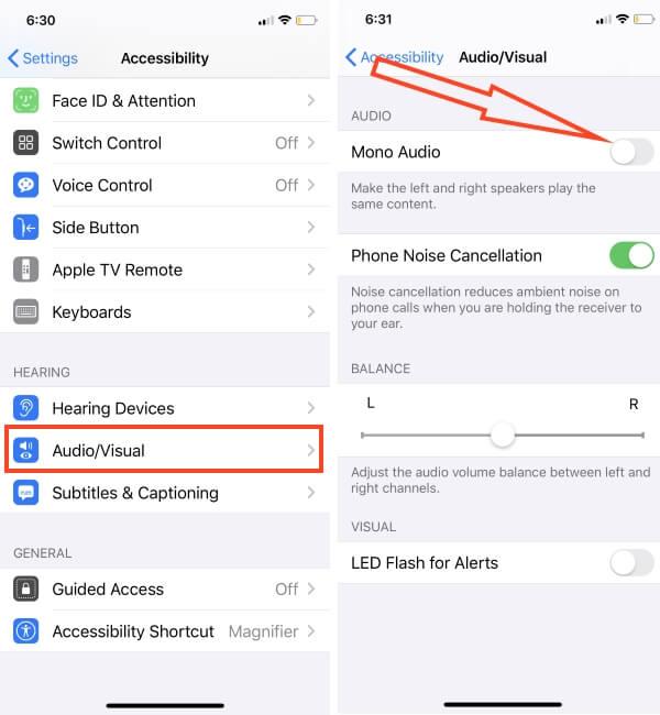 Enable Mono Audio in iPhone