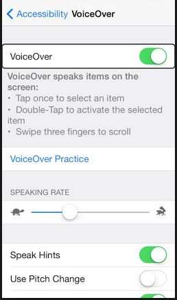 Enable or Turn VoiceOver in iOS 8 Device