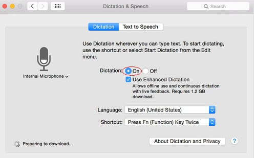 select turn on button and get advance Enhanced Dictation in OS X Yosemite