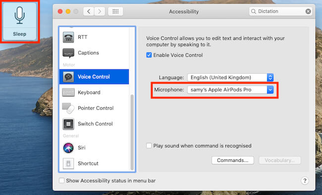 Use Microphone Device for Control Mac