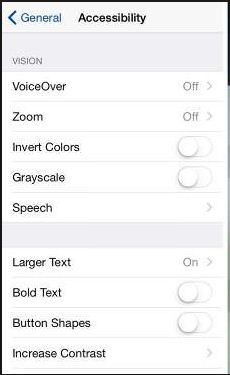 VoiceOver inside the setting app in iPhone and iPad