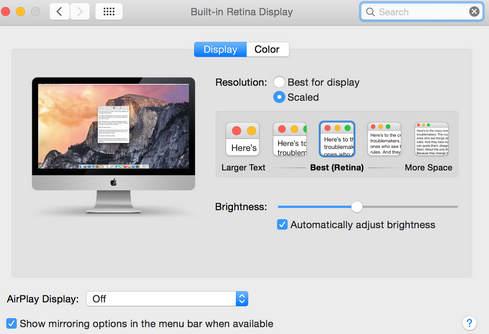 pane of 5k retina iMac to get better screen resolution