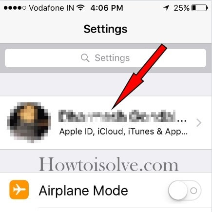 Tap on Apple ID settings in iOS 10.3 later iPhone iPad iPod touch