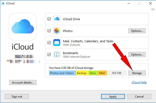 Download icloud App on Windows 10 or later computer to Downgrade upgrade Storage