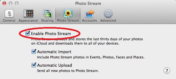 Check Photo Stream enabled on Mac OS X