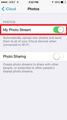 Turn photo stream enabled for Access Camera photos to all Devices